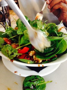 Spinach Salad with Walnuts,  Spanish Tomatoes and a Balsamic Vinegar dressing